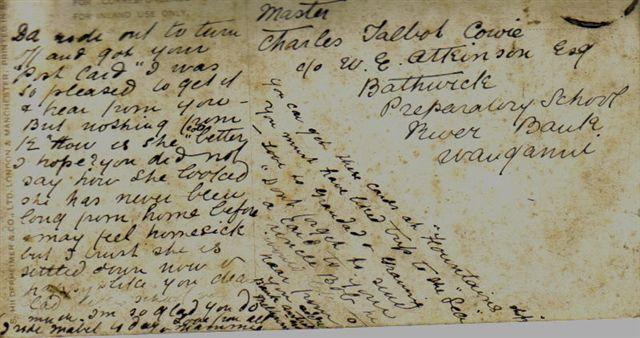 Annie Cowper\'s postcard to her son, Charles Talbot Cowie